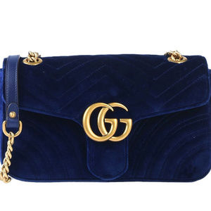 New Gucci Small GG Marmont Blue Velvet Bag